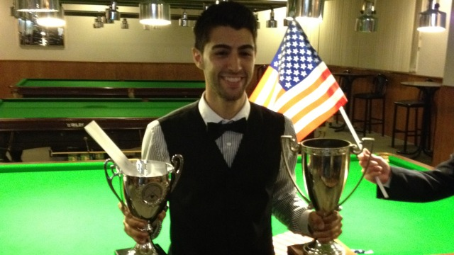 The defending champion Sargon Isaac pictured after winning last year's Championship - Photo © SnookerUSA.com