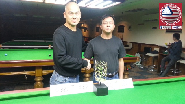 Event 1 winner of the 2013-14 USSA Tour, Raymond Fung (left), pictured with runner-up, Tim Lee - Photo © SnookerUSA.com