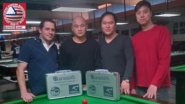 Event 2 winner of the 2013-14 USSA Tour, Raymond Fung (second from left), pictured with runner-up, Henry Wong (second from right), third placed Laszlo Kovacs (far left) and fourth placed Gary Cheung - Photo © SnookerUSA.com