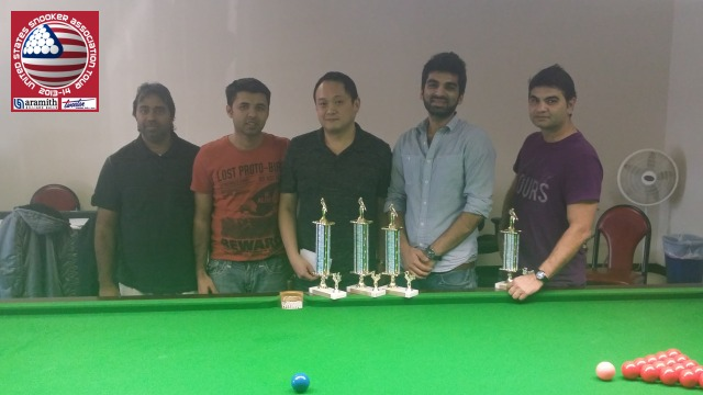 Event 3 winner of the 2013-14 USSA Tour, Keith Boon (center), pictured with runner-up Nikhil Khatwani (second right), third placed Aslam Warind (far right), and the proprietors of the Houston Snooker Club, Mohammed Iqbal (far left) and Syed Hassan (second left) - Photo © SnookerUSA.com