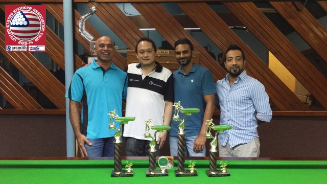 Event 5 winner of the 2013-14 USSA Tour, Keith Boon (second left), pictured with runner-up Shahzad Sarwar (far left), third-placed Mohammed Owais Ahmed (second right), and the proprietor of Champions Snooker, Omar Moton (far right) - Photo © SnookerUSA.com