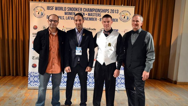 The United States players (from left to right) Rezk Atta, Ahmed Aly Elsayed, Corey Deuel and Jeff Szafransky pictured at the Championships' opening ceremony - Photo © SnookerUSA.com