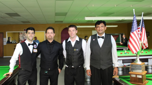 The 2013 United States National Snooker Championship semifinalists, (pictured left to right) Sargon Isaac, Romil Azemat, Corey Deuel and Ajeya Prabhakar - Photo © SnookerUSA.com