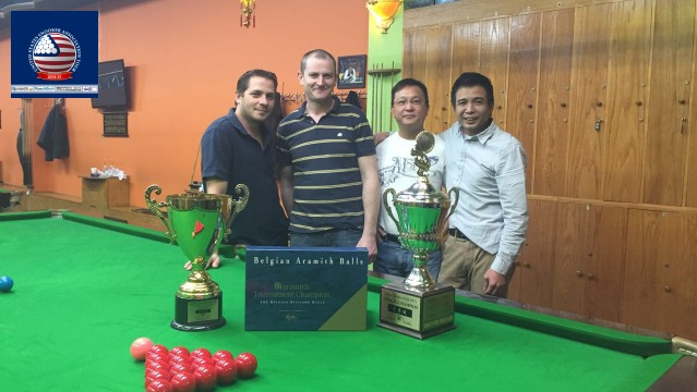 Event 1 winner of the 2014-15 USSA Tour, Paul Carbin (second left), pictured with runner-up, Tim Lee (second right), and losing semifinalists William Chu (far right) and Laszlo Kovacs - Photo © SnookerUSA.com