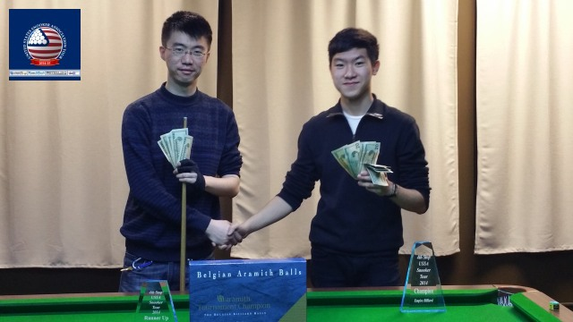 Event 4 winner of the 2014-15 USSA Tour, Andy Liu (right), pictured with runner-up, Nie Xin - Photo © SnookerUSA.com