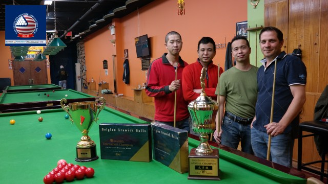 Event 8 winner of the 2014-15 USSA Tour, Kevin Wong (far left), pictured with runner-up Juno Chen (second right), and losing semifinalists William Chu (second left) and Laszlo Kovacs - Photo © SnookerUSA.com