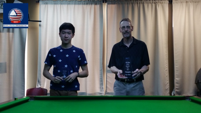 Event 12 winner of the 2014-15 USSA Tour, Byron Richmond (right), pictured with runner-up, Andy Liu - Photo © SnookerUSA.com