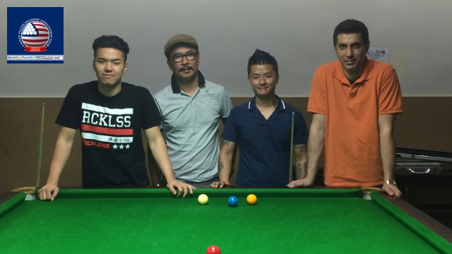 Event 13 winner of the 2014-15 USSA Tour, Phuntsok Tashi (far left), pictured with runner-up Riz Kahn (far right), and losing semifinalists Gyalzen Lama (second left) and Biju Sherpa - Photo © SnookerUSA.com