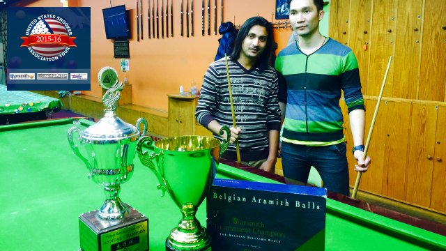 Event 2 winner of the 2015-16 USSA Tour, Ali Zafar (left), pictured with runner-up, Leo Liang - Photo © SnookerUSA.com