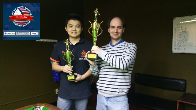 Event 4 winner of the 2015-16 USSA Tour, Alexander Newstead (right), pictured with runner-up, Ming Wu - Photo © SnookerUSA.com
