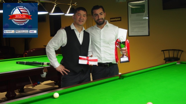 Event 5 winner of the 2015-16 USSA Tour, Renat Denkha (right), pictured with runner-up, Tsogbadrakh Dandar - Photo © SnookerUSA.com