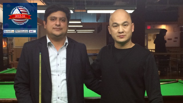 Event 6 winner of the 2015-16 USSA Tour, Varun Juneja (left), pictured with runner-up, Raymond Fung - Photo © SnookerUSA.com