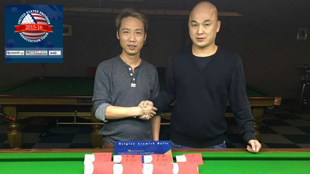 Event 8 winner of the 2015-16 USSA Tour, Raymond Fung (right), pictured with runner-up, Vincent Liao - Photo © SnookerUSA.com