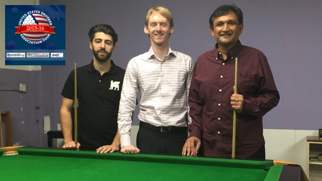 Prabhakar pictured with runner-up Sargon Isaac (left), and partner in the California Snooker Academy, Sam McGrath (center) - Photo © SnookerUSA.com