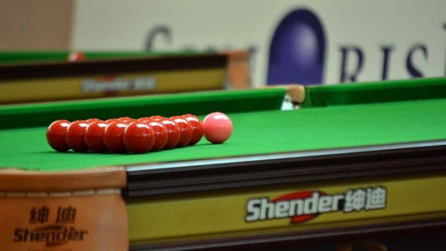 A view of one of the eighteen Shender Golden Prince Snooker Tournament tables in the playing arena, as used in all IBSF Championships since 2011 - © IBSF