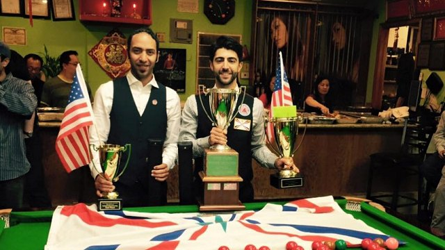 The Champion and runner-up pictured together after the final with their trophies - Photo © SnookerUSA.com