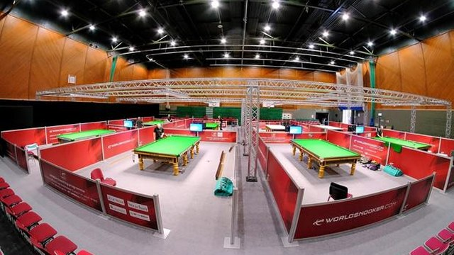 A view of the World Snooker Q School set-up inside the Meadowside Centre - Photo © WorldSnooker.com