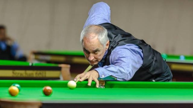 Jeff Szafransky pictured in action during his Masters' Event Group C match against Johny Moerman - © Qatar Billiards & Snooker Federation
