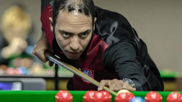 Ahmed Aly Elsayed pictured during his match against Alexander Ursenbacher - © Qatar Billiards & Snooker Federation