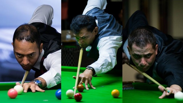 United States representatives in the Men's Event of the 2016 IBSF World Snooker Championships, Ahmed Aly Elsayed (left), Ajeya Prabhakar (center) and Laszlo Kovacs