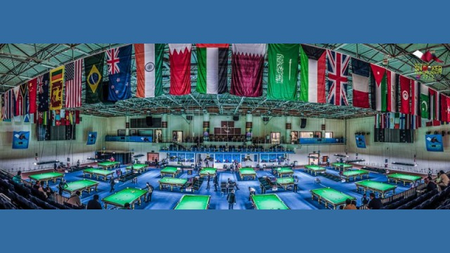A view of the playing arena at the Al-Sadd Sports Club Stadium in Doha - © Qatar Billiards & Snooker Federation