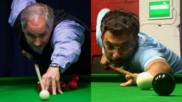 United States representatives in the Masters' Event of the 2016 IBSF World Snooker Championships, Jeff Szafransky (left) and Amitabh Seth