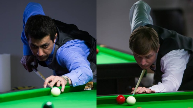 Rizwan Khan (left) and Jonathan Royalty pictured at play during the 2016 United States National Snooker Championship - Photo © SnookerUSA.com