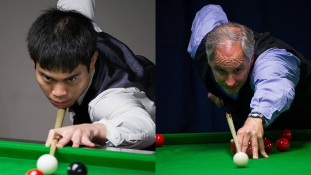 Cheang Ciing Yoo (left) and Jeff Szafransky pictured at play during the 2016 United States National Snooker Championship - Photo © SnookerUSA.com