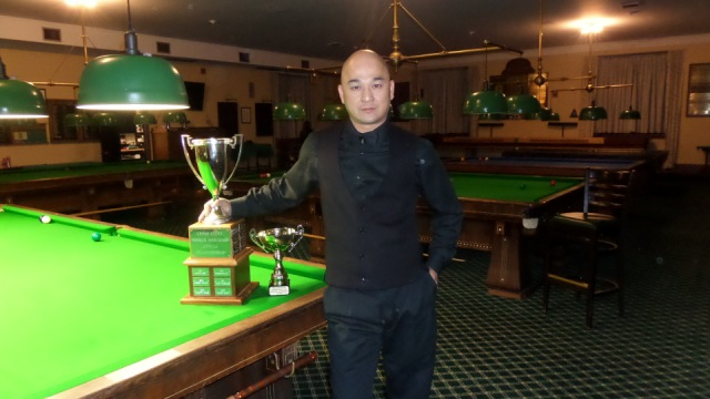 The 2017 United States National Snooker Champion, Raymond Fung, pictured with the Championship trophy - Photo © SnookerUSA.com