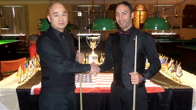The 2017 United States National Snooker Championship finalists Raymond Fung (left) and Ahmed Aly Elsayed pictured before the commencement of the match - Photo © SnookerUSA.com