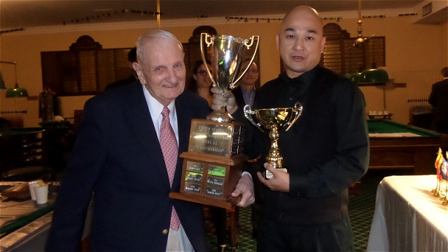 The 2017 United States National Snooker Championship trophy presentation: Pictured with Raymond Fung is Tom Kollins (left), the record five-times champion and Vice-President of the United States Snooker Association (USSA) - Photo © SnookerUSA.com