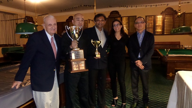 Pictured with Raymond Fung is Tom Kollins (far left), the record five-times champion and Vice-President of the United States Snooker Association (USSA), Ajeya Prabhakar (center), the president of the USSA, Kristin Barbato (second right) and Vincent Ji, NYAC billiard room committee members - Photo © SnookerUSA.com