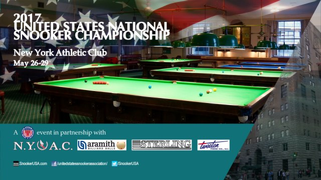 2017 United States National Snooker Championship. New York Athletic Club. May 26-29