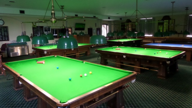 The billiard room of the New York Athletic Club, with the four re-clothed snooker tables all set to host the 2017 United States National Snooker Championship - Photo © SnookerUSA.com