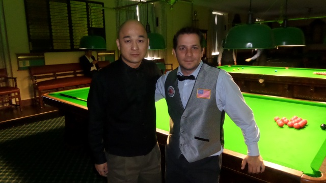 Raymond Fung and Laszlo Kovacs pictured just before their quartfinal got underway - Photo © SnookerUSA.com