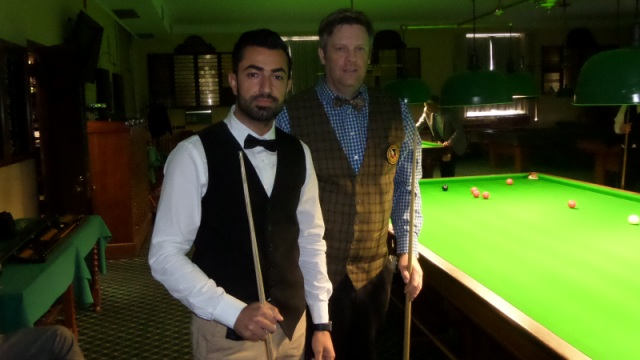 Renat Denkha (left) and Ian O'Mahony pictured before the commencement of their quarterfinal tie - Photo © SnookerUSA.com