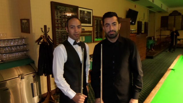 Ahmed Aly Elsayed (left) pictured with Renat Denkha before their semifinal tussle - Photo © SnookerUSA.com