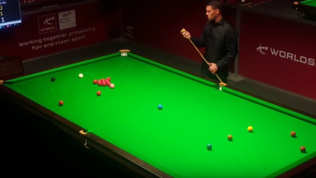 Corey Deuel pictured at the table during his match with Nikolas Charalambous - Photo courtesy of the Nine Ball YouTube channel