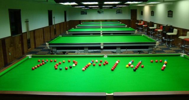 A view of the snooker tables inside the Top 147 Snooker Club in Brooklyn, New York - Photo courtesy of Top 147 Snooker Club