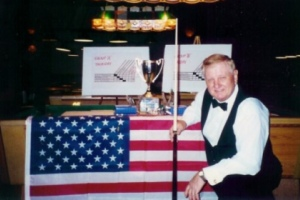 Tom Kollins pictured at his fifth United States National Snooker Championship title victory in 2001