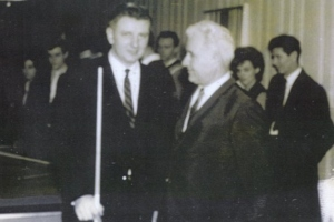 Tom Kollins pictured with the legendary Willie Mosconi during a pool exhibition in 1964